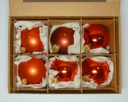 6 Kugeln (8cm) Rot-Mix