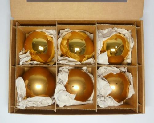 6 Kugeln (8cm) Gold-Mix