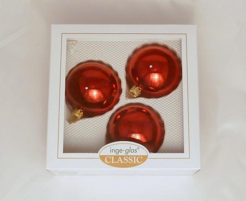 3 Kugeln (8cm) Bordeaux glanz (B-Ware)
