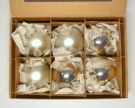 6 Kugeln (8cm) Silber-Mix